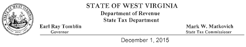 WV TAX REPLY Letter Head